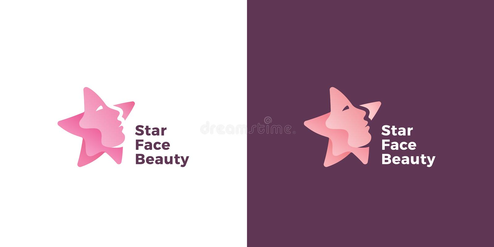 Star Face Abstract Vector Sign, Emblem or Logo Template. Star Silhouette as a Beautiful Woman Face. Flat Style Symbol vector illustration