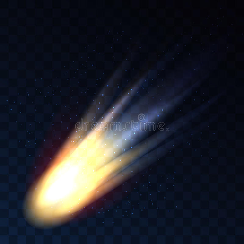 Star fall on transparent background. Vector comet, meteor or asteroid shooting isolated vector illustration