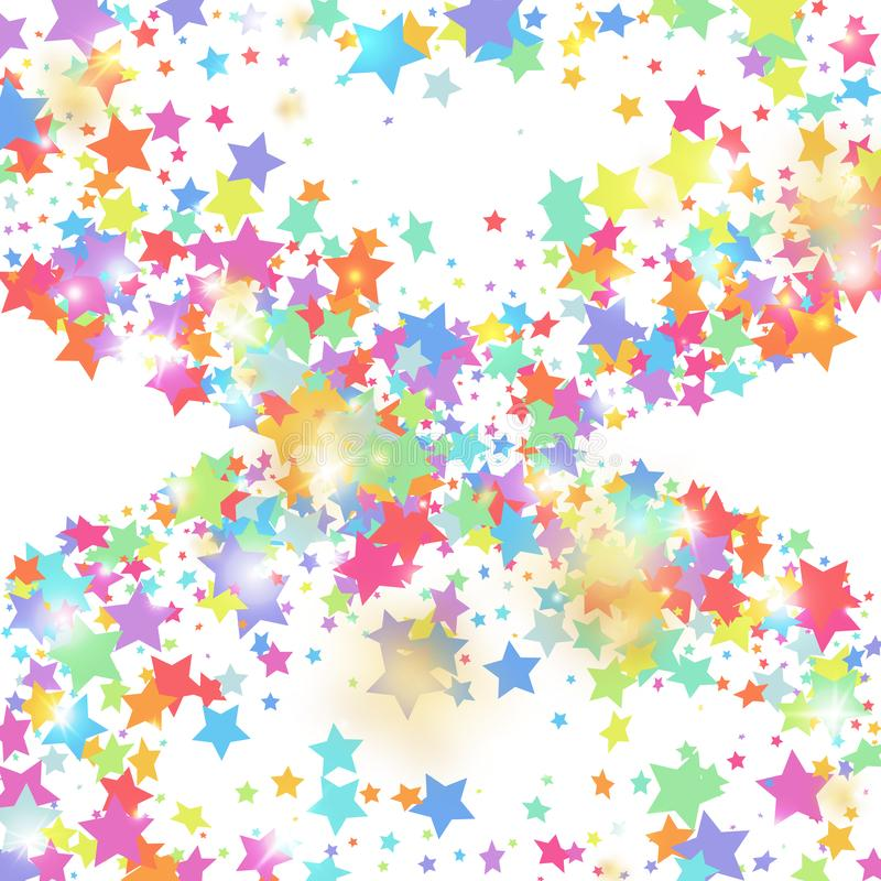 Star falling confetti background. stock illustration
