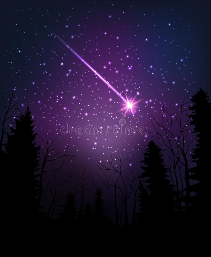 Star falling through dark night. Starry sky above dark forest. Vector illustration stock illustration