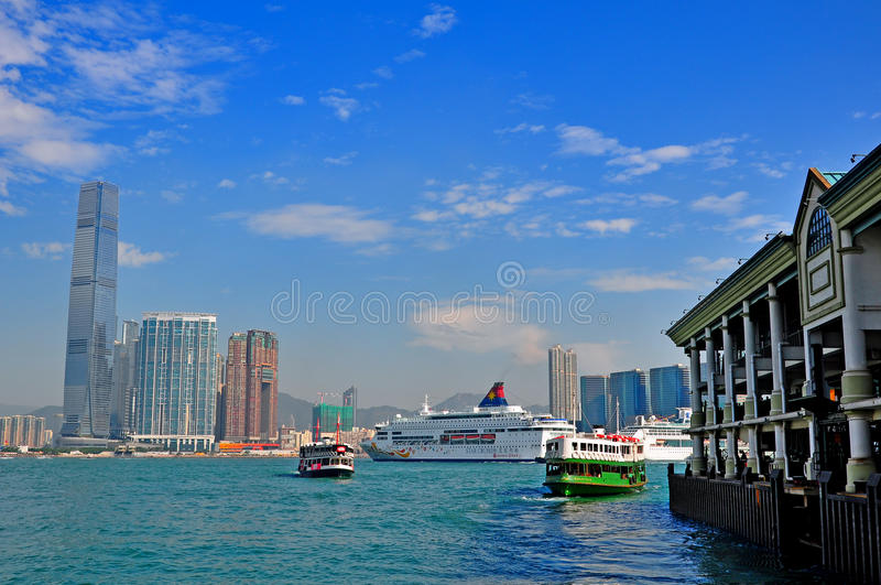 Star ferry and luxury cruises in hong kong royalty free stock photo