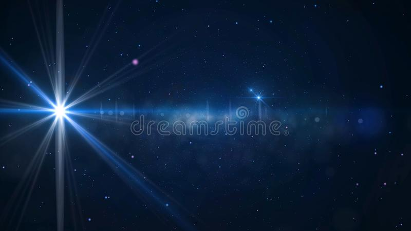 Star Field - animated motion background of star field and lens flares. Animation of a bright star.  royalty free stock photos
