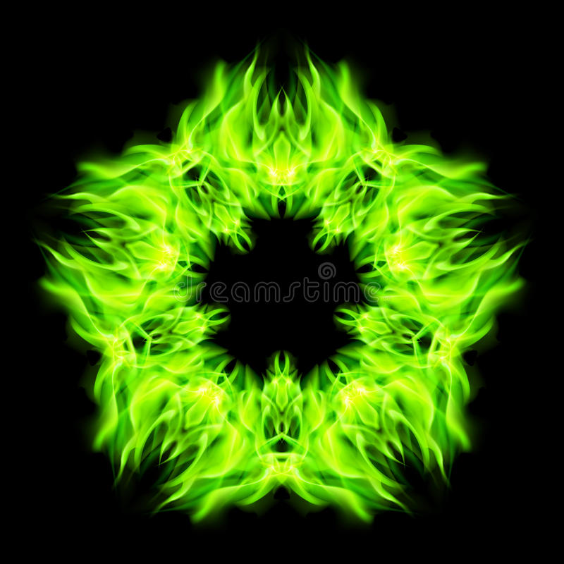 Star fire. Fire star in green color. Black background royalty free illustration