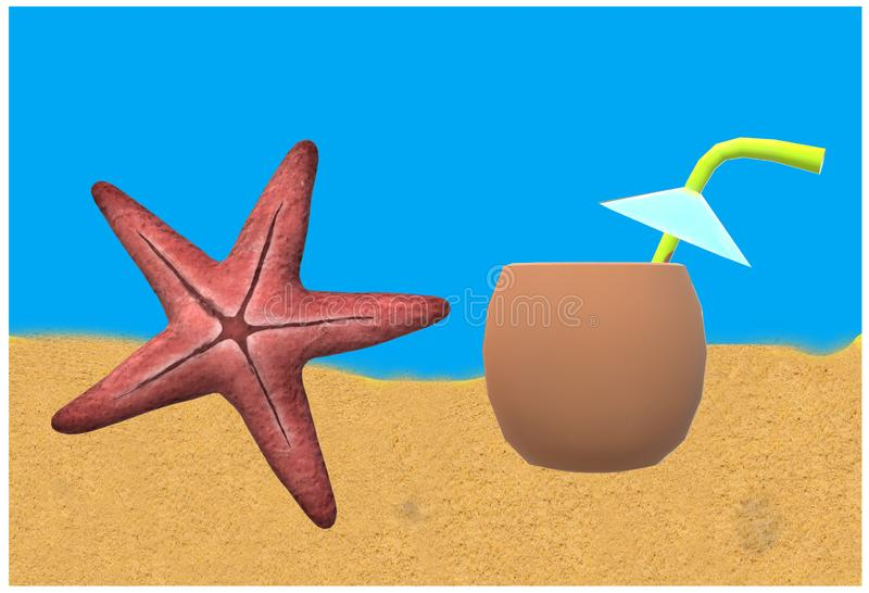 A star fish with coconut drink on a beach against a blue azure sky. A computer generated illustration image of a star fish with coconut drink on a beach against stock illustration