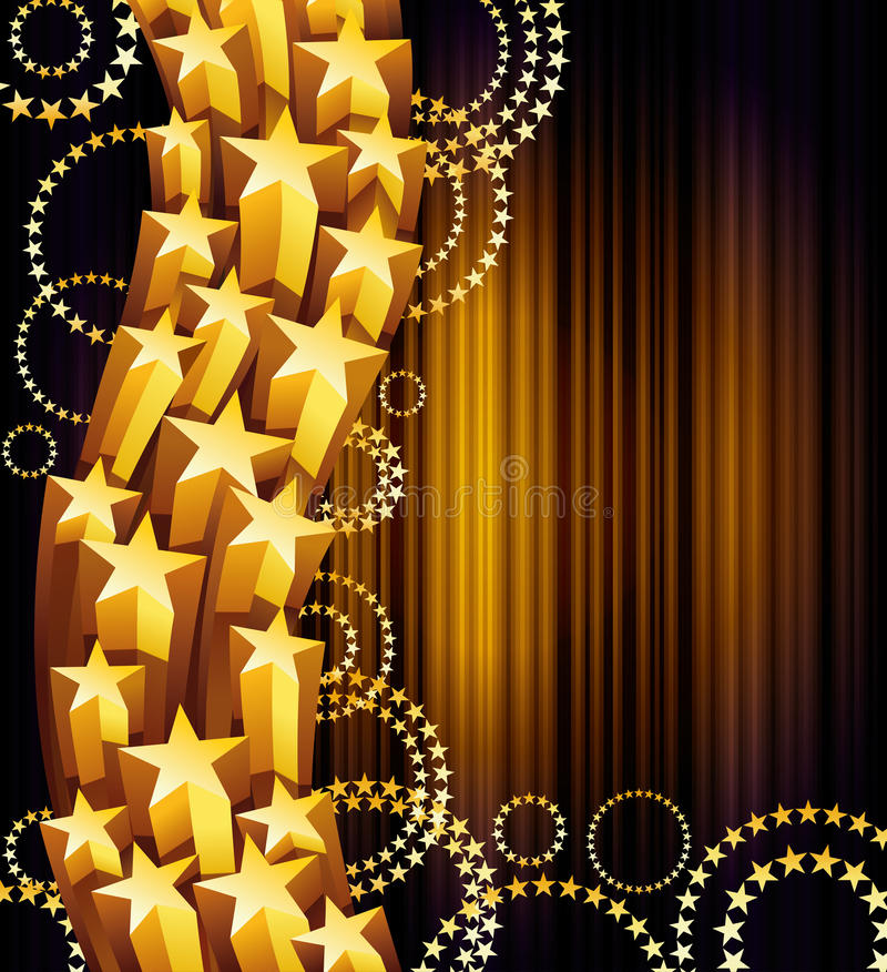 Star flow. Flow of golden shiny stars royalty free illustration