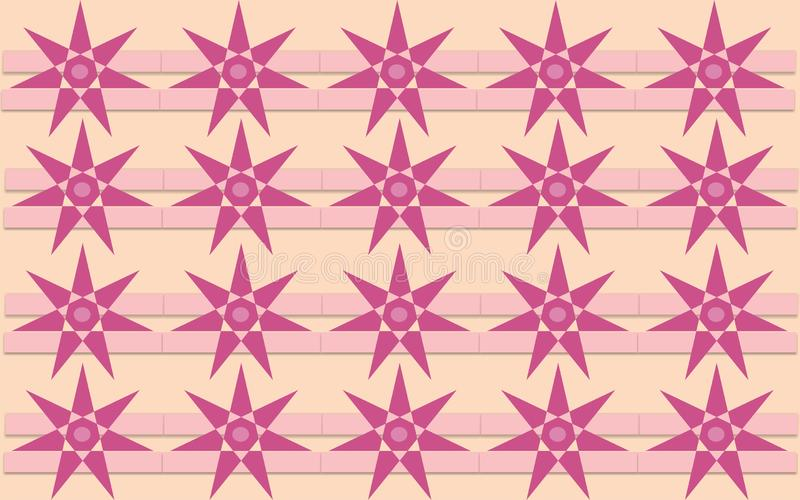 Star flower dark pink shape repetitive pattern colorful. Star flower dark pink repetitive background pattern suitable for book cover, wallpaper decoration, home royalty free illustration
