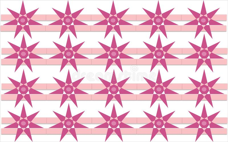 Star flower pinkish shape repetitive pattern colorful. Star flower pinkish repetitive background pattern suitable for book cover, wallpaper decoration, home stock illustration