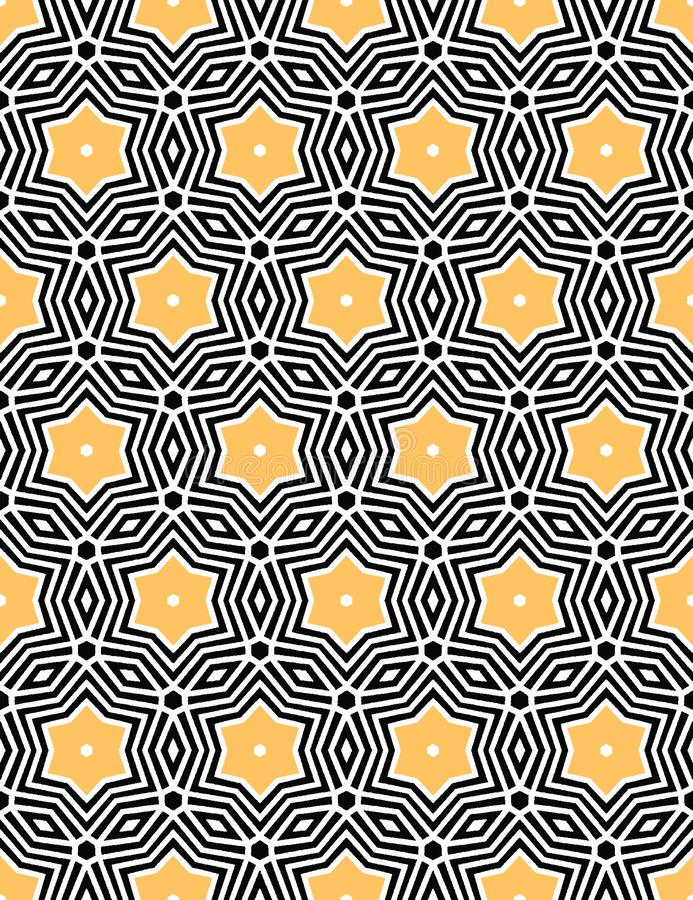 Bold hand drawn star flower quilt. Vector pattern seamless background. Symmetry geometric celtic knot illustration. Trendy retro vector illustration