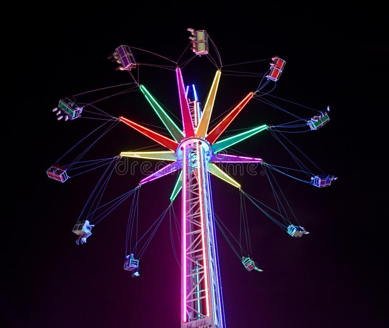 Star Flyer Panoramic Theme Park Ride. A thrilling and visually panoramic Star Flyer ride at an amusement park in Singapore stock images