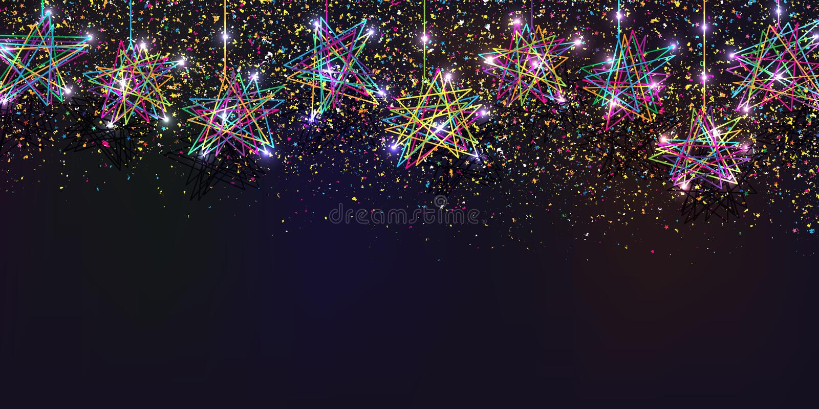 Star free five color drop light banner RGB royalty free illustration