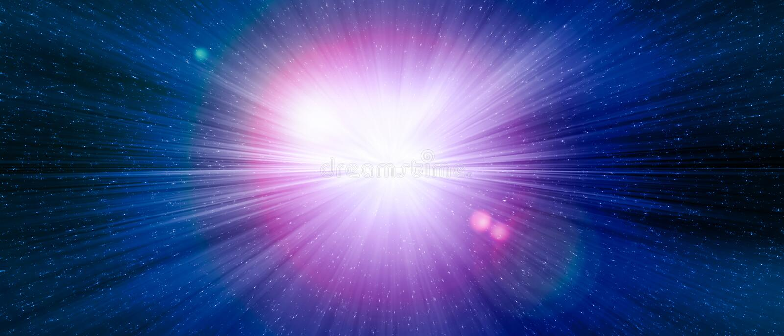 Star gate blue explosion in a galaxy of an universe. royalty free illustration