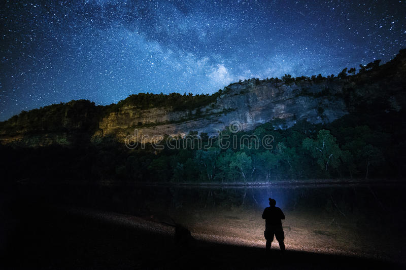 Star Gazing. Under a beuatiful night sky royalty free stock images