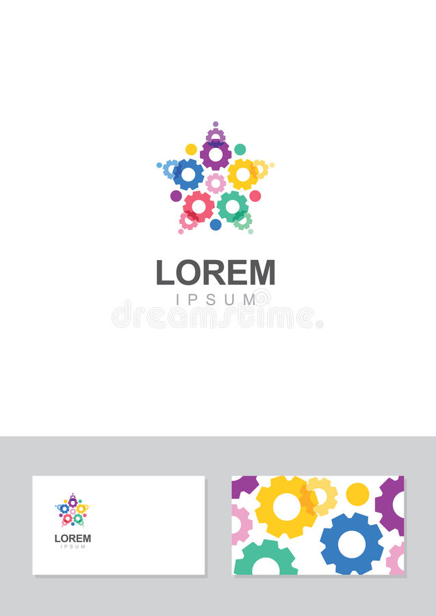 Star gear icon design element with business card template stock download star gear icon design element with business card template stock vector illustration of business reheart Choice Image