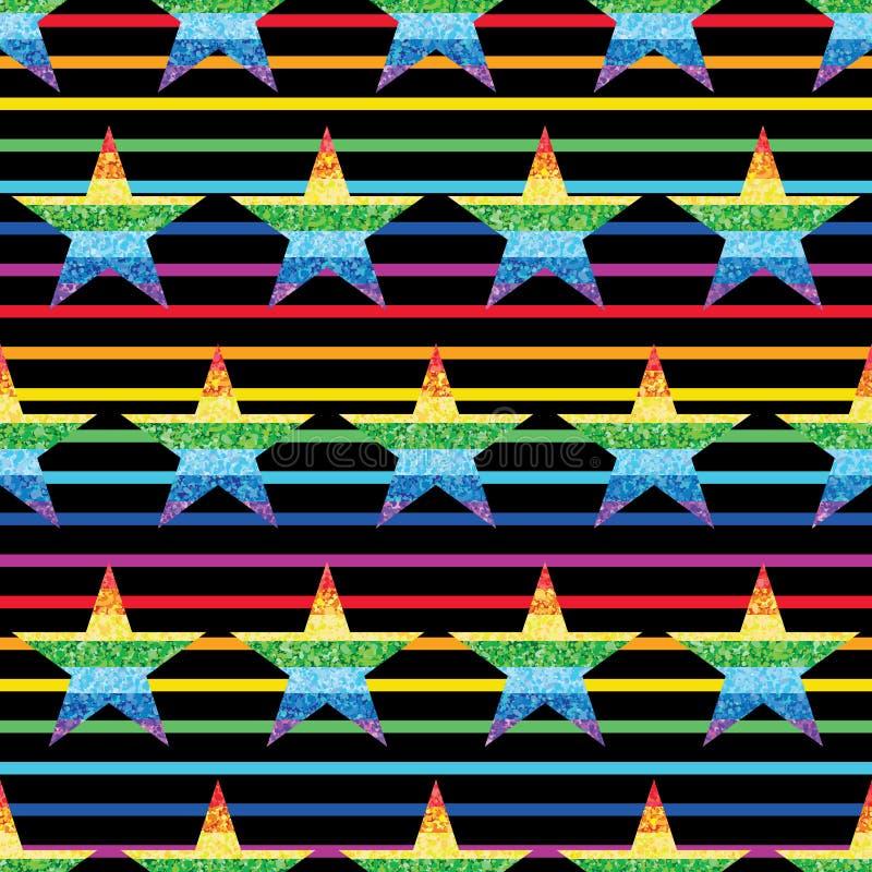 Star glitter rainbow symmetry stripe seamless pattern stock illustration