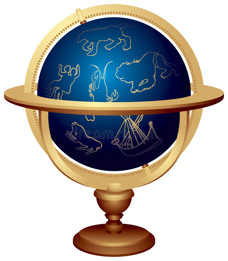Star globe. Or Celestial globe used in astronomy, Astrology and navigation. The celestial sphere With symbolical images of constellations: Ursa Major, Gemini vector illustration