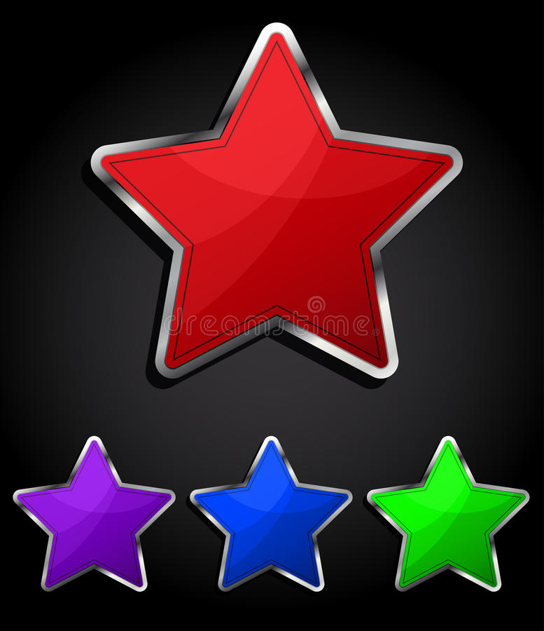 Star glossy button, icon. vector illustration