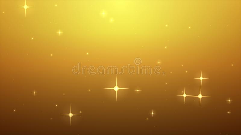 Star glow on gold background with bokeh effect, Out of focus, Co stock illustration