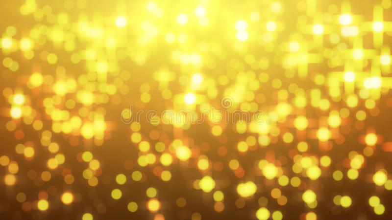 Star glow on gold background with bokeh effect, Out of focus, Co royalty free illustration