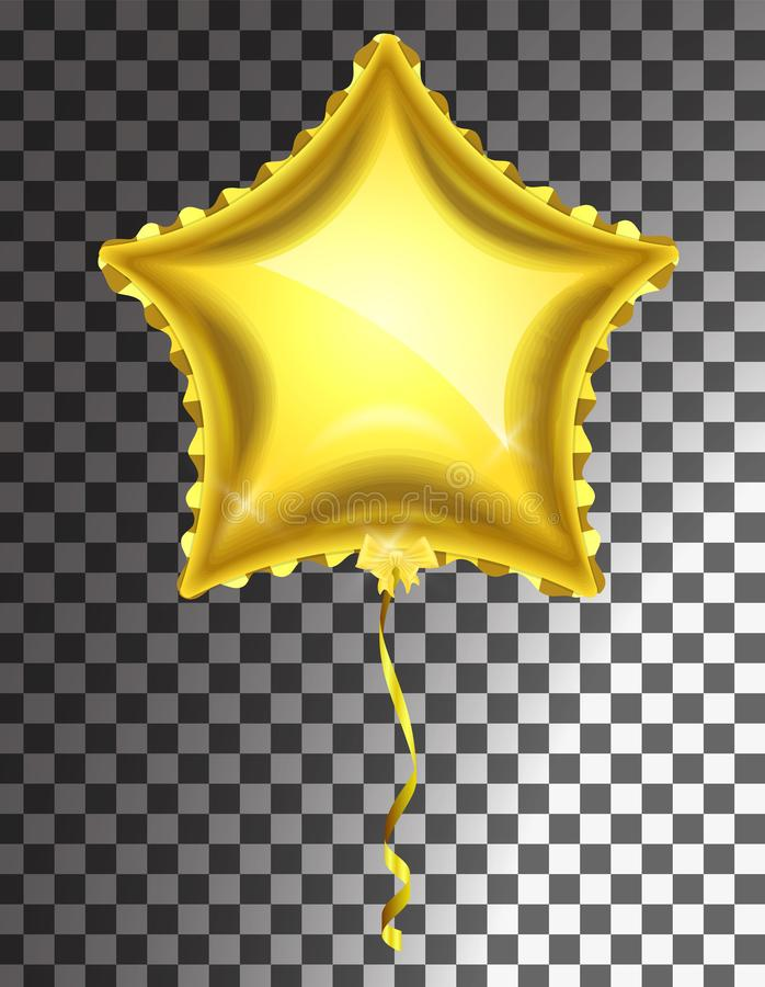 Star gold balloon on transparent background. Party helium balloons event design decoration stock illustration