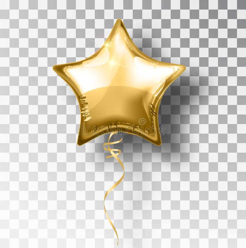 Star gold balloon on transparent background. Party helium balloons event design decoration. Balloons air stock illustration