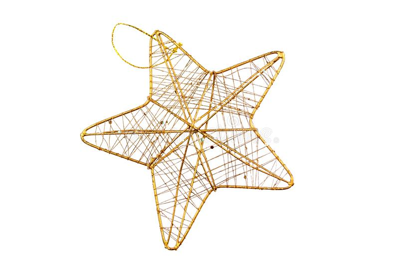 Star with golden frame and interlacing golden threads isolated on white background stock photo