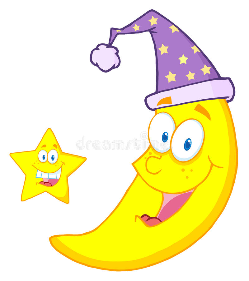 Star by a happy crescent moon wearing a night cap. Happy star and moon mascot cartoon characters royalty free illustration
