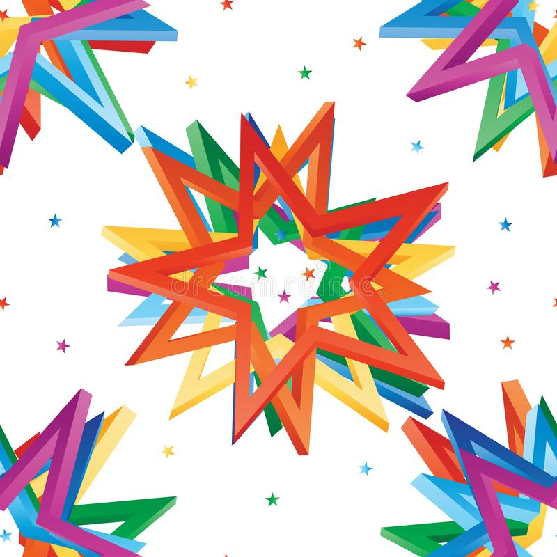 Star hole 3D rainbow combine seamless pattern. This illustration is design star hole 3d rainbow combine in seamless pattern on white color background stock illustration