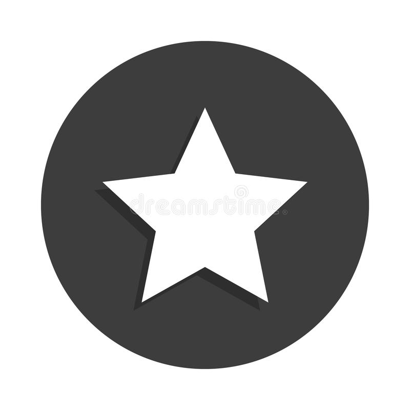 Star icon in Badge style with shadow. On white background stock illustration