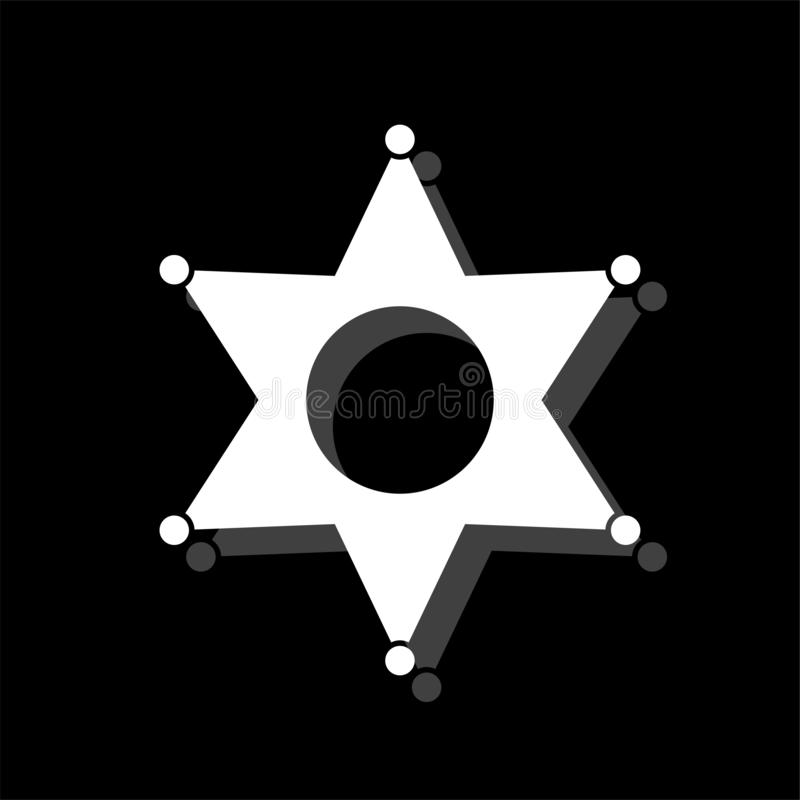 Star icon flat. Star. White flat simple icon with shadow stock illustration