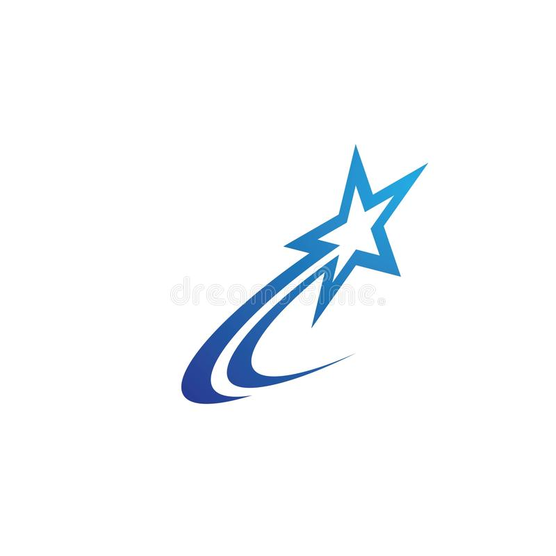 Star icon Template. Vector illustration design stars shooting abstract logo background comet symbol graphic shape tail astronomy meteorite white isolated space stock illustration