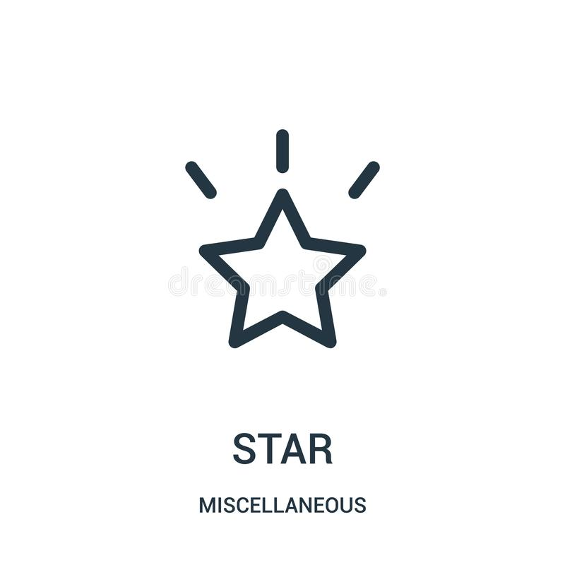 star icon vector from miscellaneous collection. Thin line star outline icon vector illustration. Linear symbol for use on web and royalty free illustration