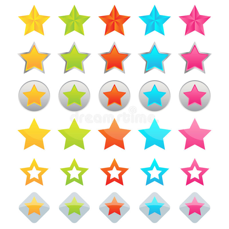 Star icons. Set of thirty star icons and buttons isolated on white background.EPS file available