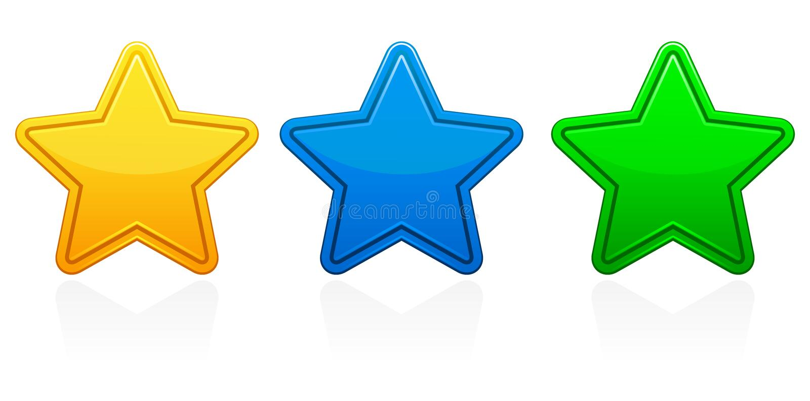Star Icons / EPS. A group of three glossy star icons in yellow, blue and green. Also available in vector EPS