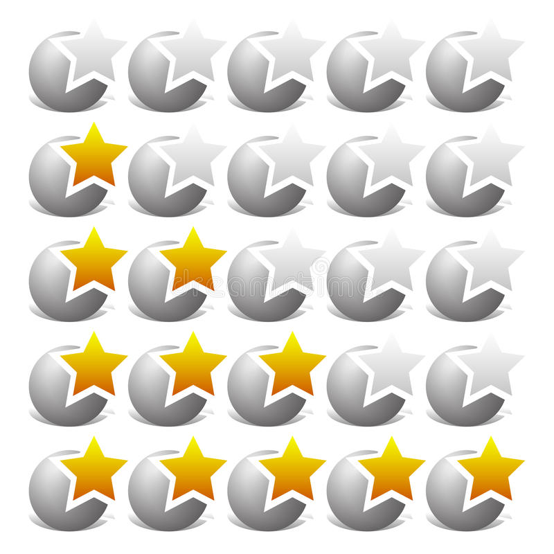 Star il modello di valutazione per l'esame, la soddisfazione del cliente e il simil royalty illustrazione gratis