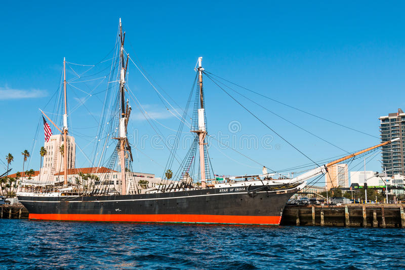 The Star of India at the Maritime Museum of San Diego. SAN DIEGO, CALIFORNIA - MARCH 2, 2017: The Star of India, the world`s oldest active ship, docked at the royalty free stock image