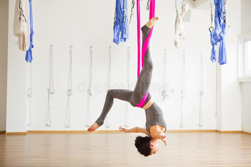 download star inversion aerial antigravity yoga pose woman exerciseses with hammock stock image   image star inversion aerial antigravity yoga pose woman exerciseses      rh   dreamstime