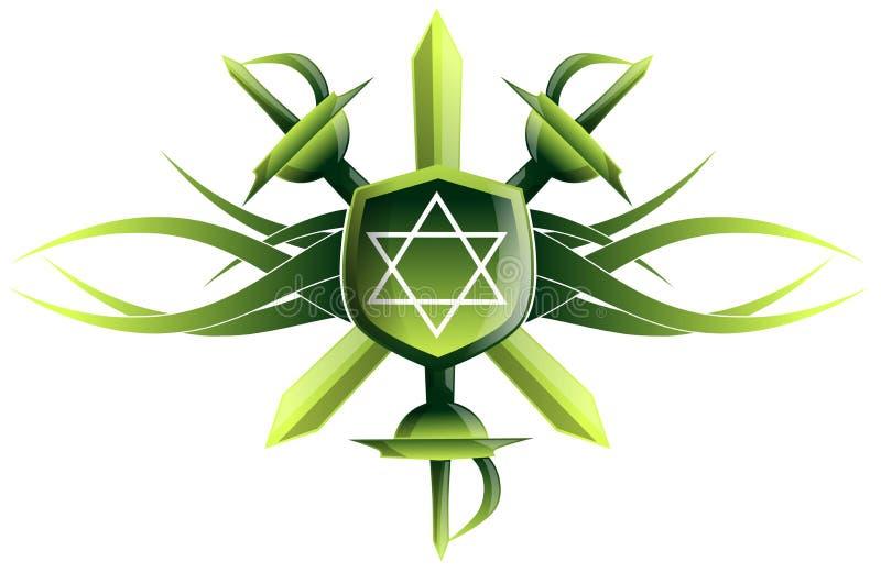Star of king David on shield with swords vector illustration