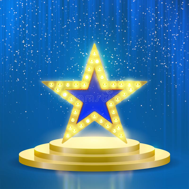 Star podium lamps vector blue light background vector illustration