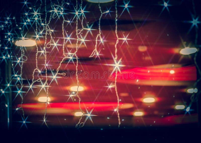 Star lens flares on garlands stock image