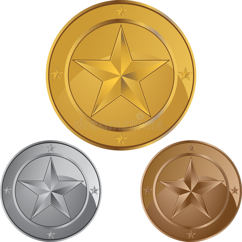Star les médailles de pièce de monnaie illustration de vecteur