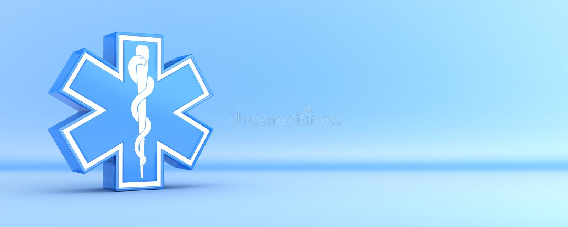Star of life, blue vector illustration