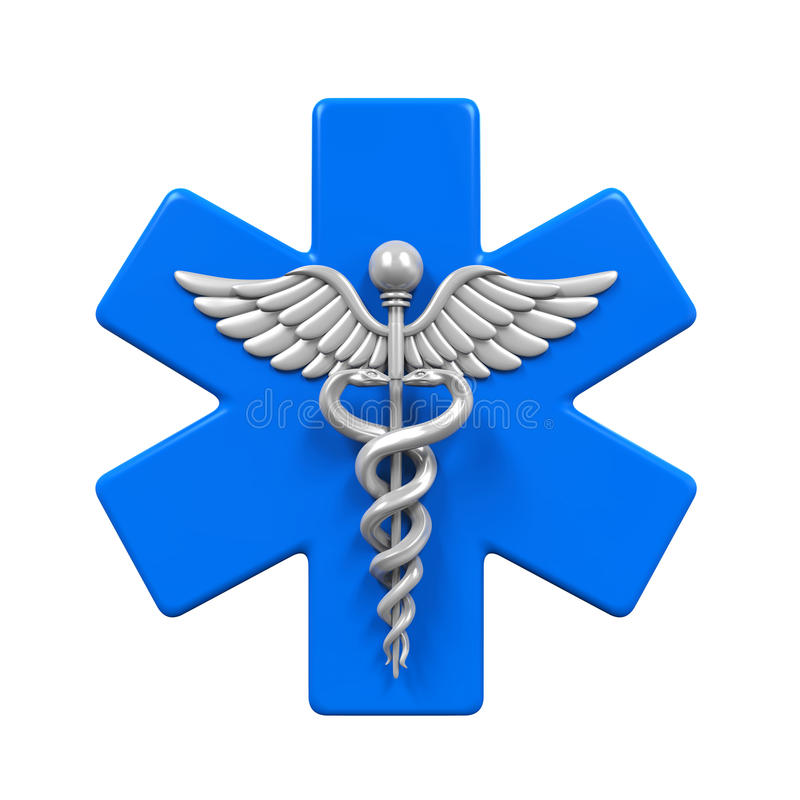 Star of Life Caduceus Symbol. Isolated on white background. 3D render vector illustration