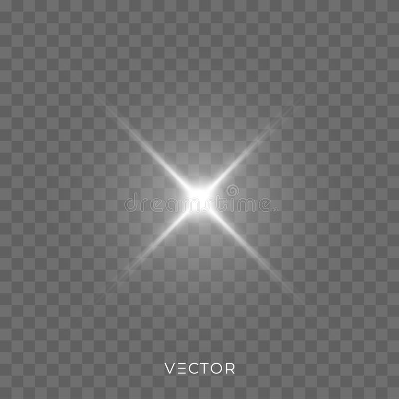 Star light shine, bright spark rays with lens flare effect. Vector Christmas glitter, shiny sparkle light flash royalty free illustration