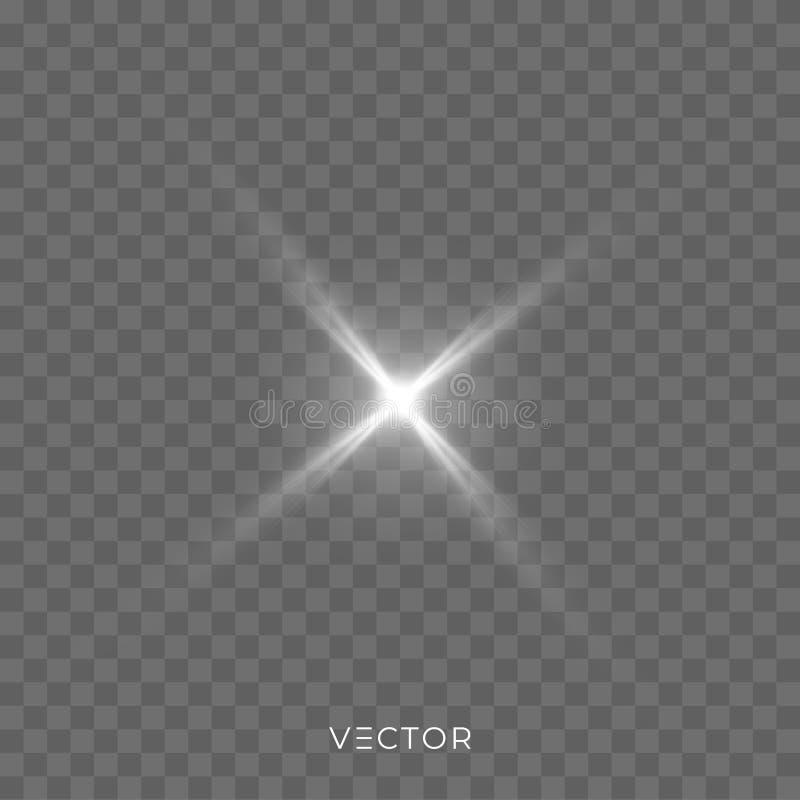 Star light shine, glow spark rays isolated on transparent background. Vector starlight, sunlight lens flare effect stock illustration