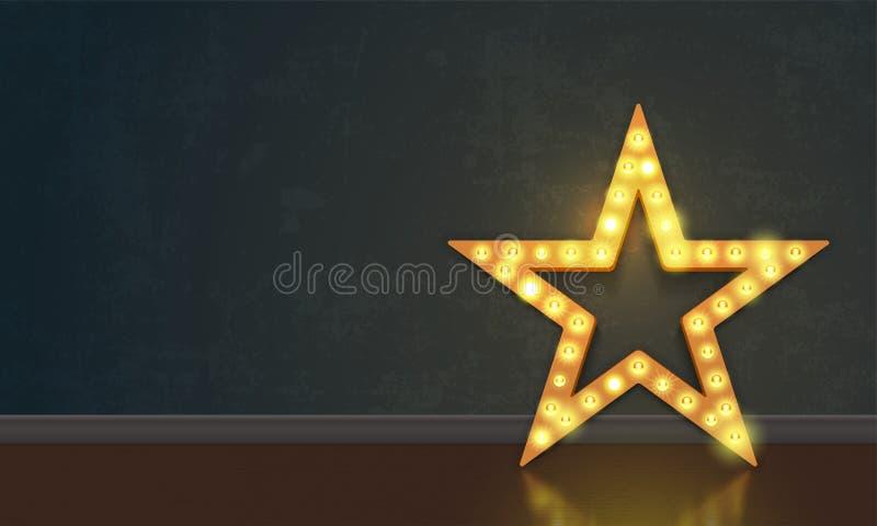 Star of lightbulb lamps neon signboard on vector wall background. Star of lightbulb neon signboard on wall background. Vector abstract star of lamps royalty free illustration