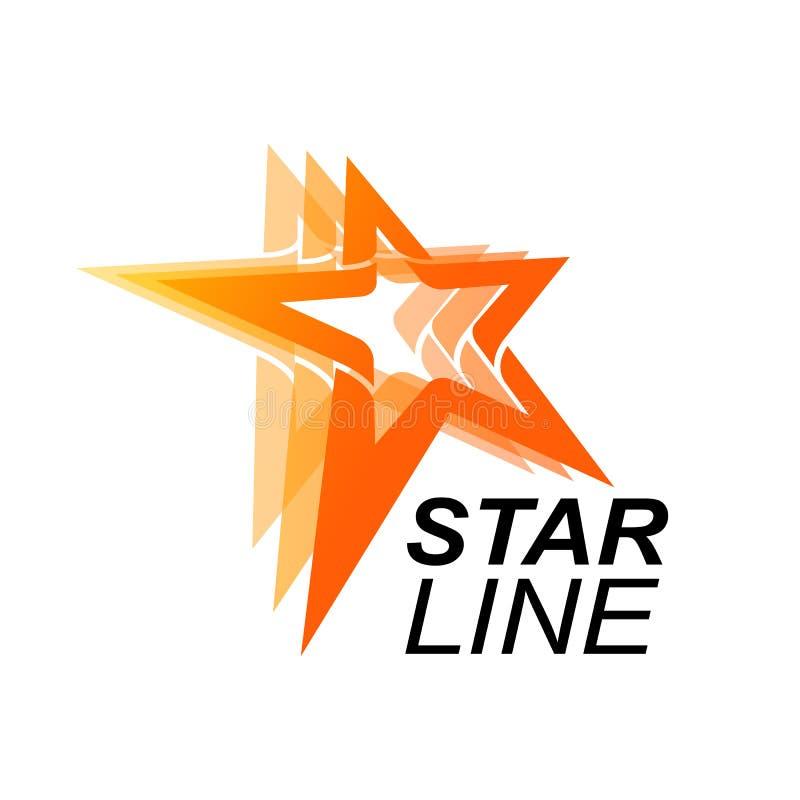Star line logo template in orange star concept. Vector Illustration. Star line logo template idea in orange star concept. Vector Illustration royalty free illustration