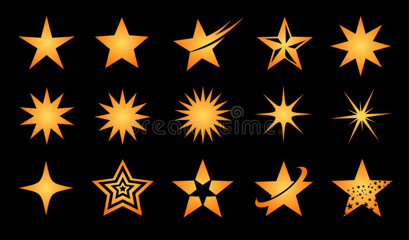 Star logo icon set. Super golden star logo icon set for your company stock illustration