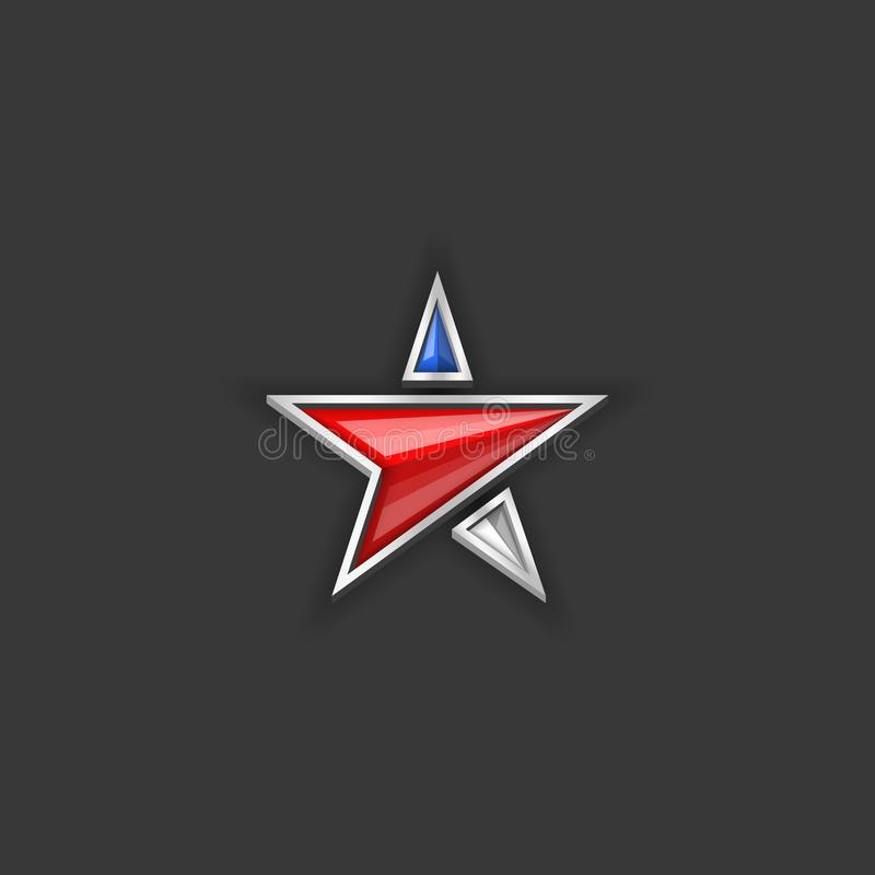 Star logo usa flag colors. American Independence Day or Memorial day holiday patriotic blank poster or banner background royalty free stock images