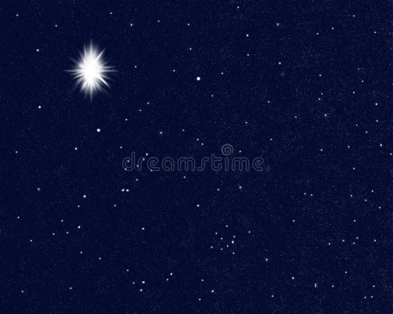 Star luminoso nel cielo che indica la nascita di Jesus Christ, natale illustrazione vettoriale