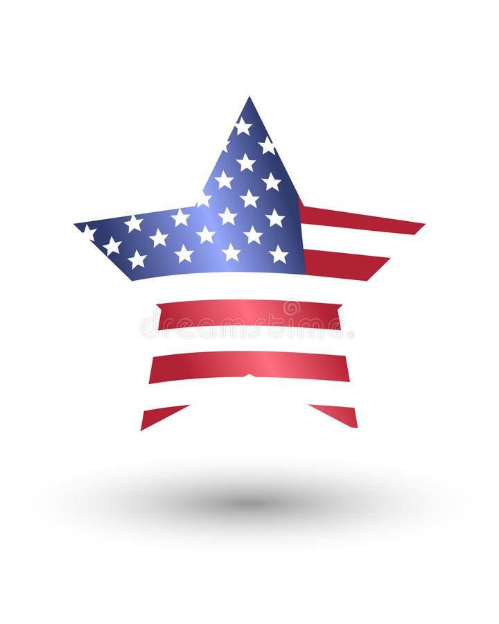 Star made of American flag vector illustration
